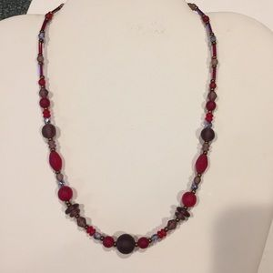 Jewelry - Multi- Red Colored Bead Necklace with 925 Clasp